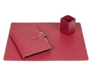 Set da scrivania in cuoio liscio bordeaux - (3 pz.)