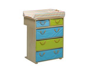 FASCIATOIO in legno multicolor con materassino -   79x92x50 cm