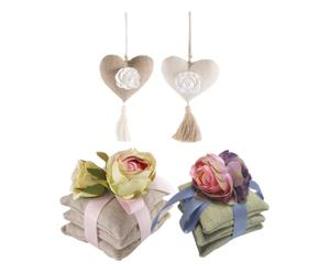 Set di 6 sacchettini profumati e 2 nappine decorative Rose
