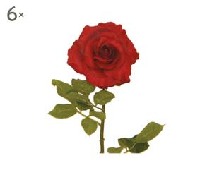 Set di 6 rose artificiali con petali in seta rossa KATHLEEN - h78 cm