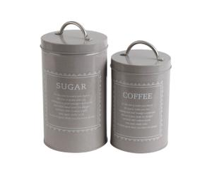 S/2 METAL JAR FOR SUGAR AND COFFEE