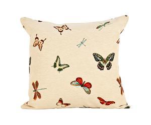 cuscino in misto cotone Farfalle ecrù - 45x45 cm