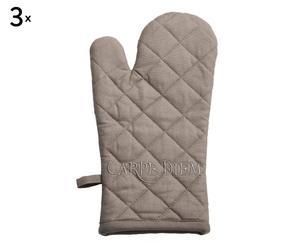 set di 3 guanti da forno in cotone carpe diem tortora - 15x32 cm