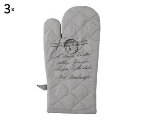 set di 3 guanti da forno in cotone torino - 15x32 cm