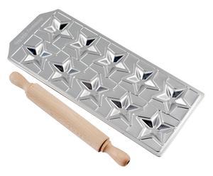 Stampo per ravioli in alluminio con mattarello Stelline - 32X2x14 cm