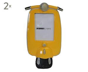 set di 2 cornici portafoto moto giallo - 15x29 cm