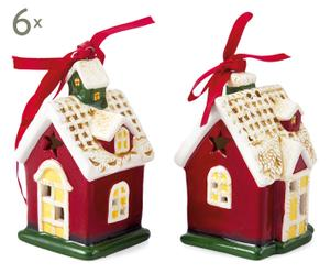 SET di 12 decorazioni natalizie in ceramica ASPEN - 4x9x4 cm