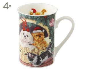 set di 4 tazze in porcellana NOEL cani e gatti - 10x11x10 cm