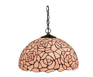 Lampadario in ferro e vetro floral chandelier rosa - 41x22 cm