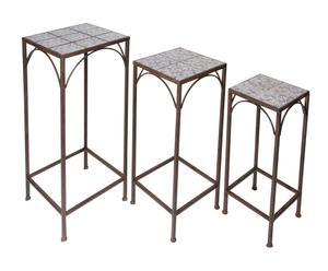 Set di 3 tavolini in ferro battuto e ceramica Antiqua - max h 75 cm