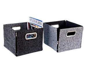 box in feltro zip assortito grigio chiaro/scuro - 27x23x27 cm