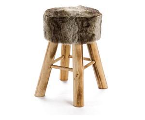 sgabello in legno e pelliccia IN NORDIC - 32x42x32 cm