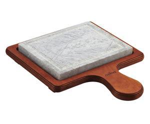 Pietra ollare con base in legno - 16x20 cm
