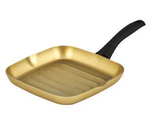 Bistecchiera in alluminio rivestimento Stonegold nero - 24x24 cm