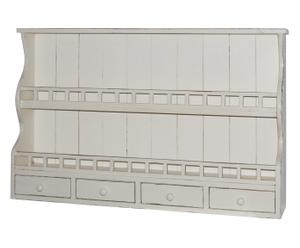 Piattaia a 2 scomparti e 4 cassetti in legno - 107x68x18 cm