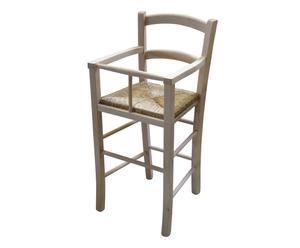 Seggiolone per bambini in legno e paglia Natural - 46x101x46 cm