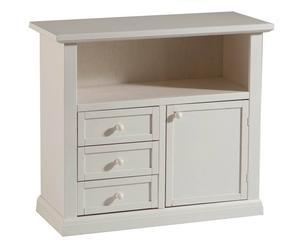 Porta tv a 1 vano e 3 cassetti in legno bianco - 84x80x40 cm