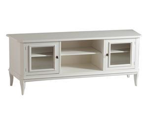 Porta tv a 2 ante e 2 vani in legno bianco - 164x64x46 cm