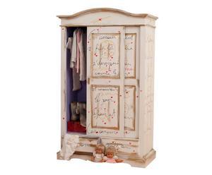 Armadio ad ante scorrevoli e 2 cassetti con poesia in legno bianco - 122x200x59 cm