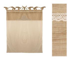 Tenda in tessuto con ricami e nastrini Country beige - 140x300 cm
