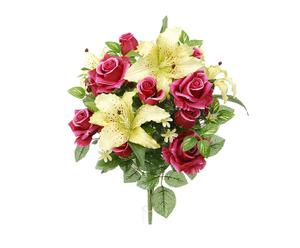 Bouquet decorativo di rose fucsia e lilum - d 55/h 55 cm