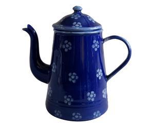 Caffettiera in ceramica fatina fiori blu - 19x12x19 cm