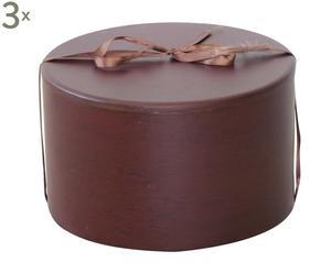 Set di 3 Cofanetti milleusi tondo in legno con nastrino tolosa - d 24/h 15 cm