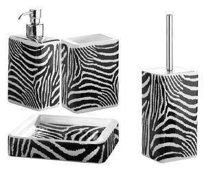 Set accessori da bagno in resina Arianna zebrato - 4 pz
