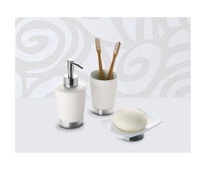 Set da bagno in ceramica e acciaio Petunia - 3 pz