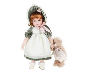 Bambola in porcellana con orsacchiotto Dolly - 12X40X8 cm