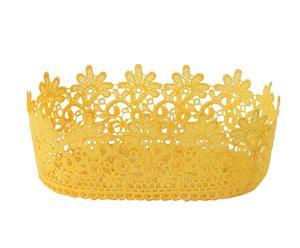 Cestino/sottovaso effetto uncinetto Corona giallo - 21x9x21 cm