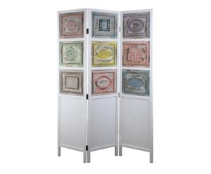 Paravento in abete a 3 ante con intarsi multicolor - 120x178 cm