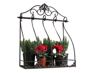 Mensola/fioriera da parete in metallo Roses nera - 57x63x24 cm