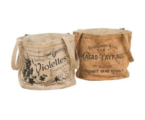 Cesta portatutto in pelle Violettes&Cacao assortita - 33x37x33 cm