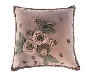 Cuscino in velluto con applicazioni floreali in organza Gabrielle - 40x40 cm