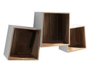 Set di 3 mensole cubi in mdf TRAPEZIO WHITE - max 30x30x20 cm
