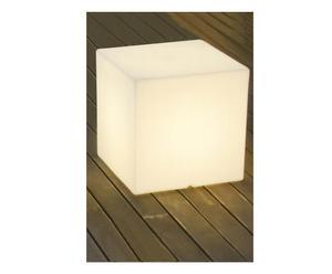Pouf/tavolino luminoso da esterno/interno in resina Kuby 45 - 43x43 cm