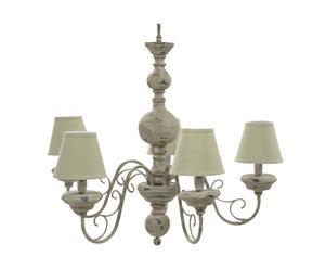 Lampadario a 5 luci in legno e tessuto Madeleine - d 65/h 66 cm