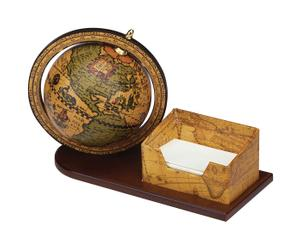 Composizione da scrivania con mappamondo e bloc notes - 25x16x12 cm