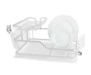 Scolapiatti in alluminio e plastica Light bianco - 58x38x27 cm