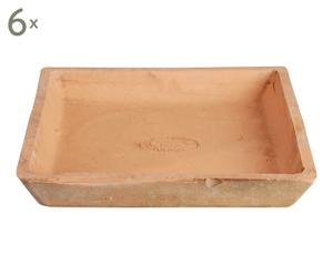 Set di 6 sottovasi in terracotta anticata Potter - 20x4x20 cm