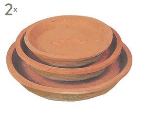 Set di 3 sottovasi in terracotta - max 23x23 cm