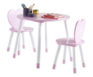 Set di tavolino e 2 sedie in mdf Cuore - bianco e rosa