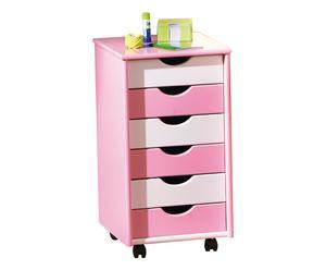 Cassettiera in legno con 6 cassetti Up rosa e bianco - 36x65x40 cm