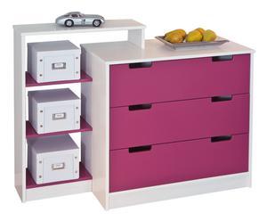 Cassettiera a 3 cassetti con scaffale in pino Lily rosa - 108x83x41 cm