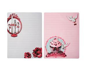 Set di 2 calamite memo cupcake rosa e grigio - 17x23 cm