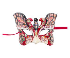 Maschera con decori pittorici farfalla rossa - 25x10 cm