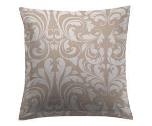 Federa per cuscino arredo in raso di cotone vera taupe/bianco - 60x60 cm