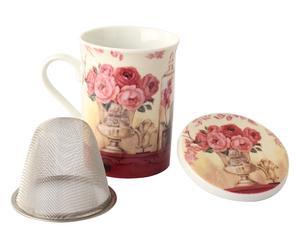 Tazza in porcellana con infusiera e coperchietto Rose - 8x11 cm
