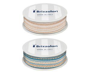 Set di 2 rocchetti di nastro in tessuto rustico - avorio/azzurro